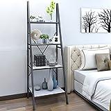 Lifewit Standregal Bücherregal Leiterregal mit 4 Ablageflächen aus Holz und metall im Wohnzimmer Badezimmer Lagerregal für Bücher Pflanzen Deko, weiß