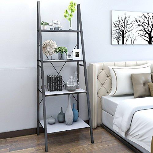Lifewit Standregal Bücherregal Leiterregal mit 4 Ablageflächen aus Holz und metall im Wohnzimmer Badezimmer Lagerregal für Bücher Pflanzen Deko, weiß (Bücherregal Wohnzimmer)