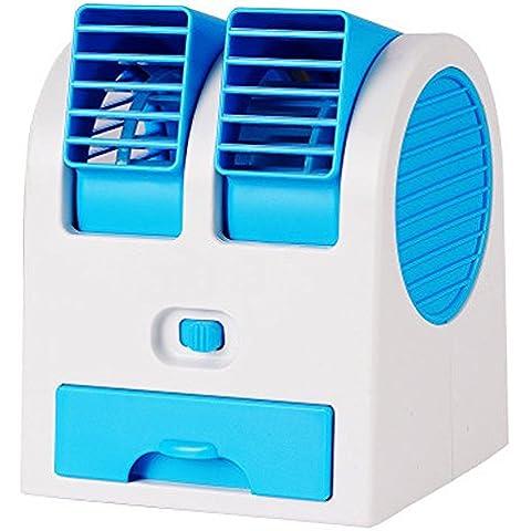 kokome Portable escritorio ventilador Mini USB Mini portátil aire acondicionado Mini ventilador refrigerador ajustable doble aire salidas de aire (Azul)