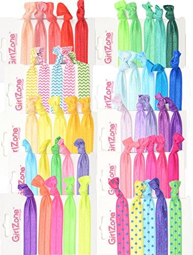 GirlZone 50er Haargummi Set Mädchen - Zopfgummis & Stoffarmbänder - Pferdeschwanz - Geschenk Mädchen Mitgebsel