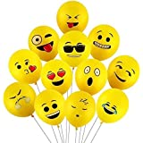 PARTY PROPZ Smiley Balloon Printed Face Expression Latex Balloon 25 Pcs, Yellow/Emoji Balloon/Smiley Balloon/Birthday Decorat