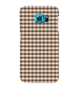 Fiobs Designer Back Case Cover for Samsung Galaxy S6 Edge :: Samsung Galaxy S6 Edge G925 :: Samsung Galaxy S6 Edge G925I G9250 G925A G925F G925Fq G925K G925L G925S G925T (Blue Checks Lines White Nila)