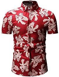 df3d038d9f322 Soporte de Camisa de Manga Corta con Estampado de Flores para Hombre