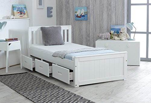 3ft Single Captain Cabin Storage Solid Pine Wooden Bed Bedframe - White Finish