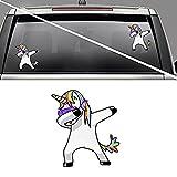 MMilelo Einhorn Auto Aufkleber Vinyl Aufkleber Regenbogen Cool Einhorn Tattoo Aufkleber für Handy, Macbook, Laptop, Auto, Boote, Windows und Mehr (H01)