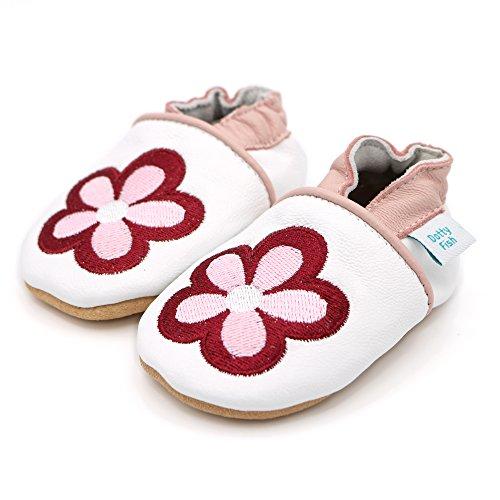 Dotty Fish weiche Lederschuhe für Babys und Kleinkinder - Erste Laufschuhe und Krabbelschuhe für Mädchen - Größen 16 - 28 (Neugeborene - 3-4 Jahre) Weiß und Rosa Gestickte Blumen