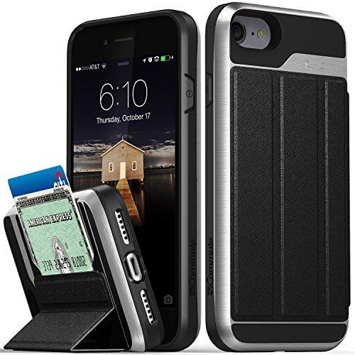iPhone 8Wallet Case, iPhone 7Wallet Case, VENA [vcommute] [Military Grade Drop Schutz] Flip Leder Cover Kartenhalter mit ausklappbarem Ständer für iPhone 8, iPhone 7(Space Grau/Schwarz) grau - space gray