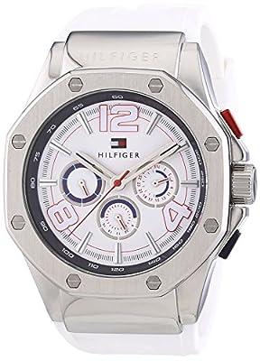 Tommy Hilfiger 1790913 - Reloj de cuarzo para hombre, correa de goma color blanco