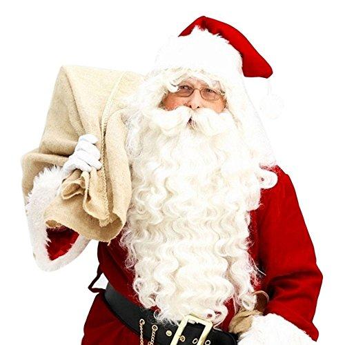 Zubehör Kostüm Santa - Longra Weihnachten Kostüm Zubehör Weihnachtsmann Perücke und Bart Sets für Nikolaustag Erwachsene Santa Claus Nikolaus Weihnachtsperücke Nikolausperücke Cosplay (A)