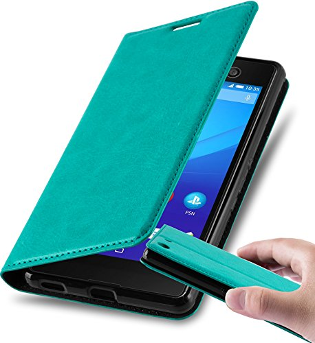 Cadorabo Hülle für Sony Xperia M5 - Hülle in Petrol TÜRKIS - Handyhülle mit Magnetverschluss, Standfunktion & Kartenfach - Case Cover Schutzhülle Etui Tasche Book Klapp Style