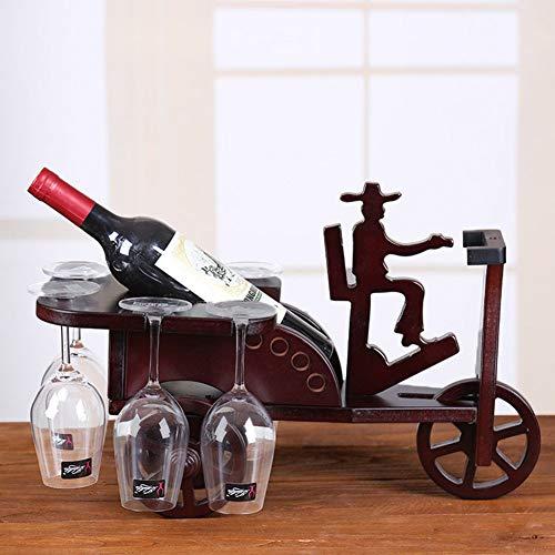 HCDMRE Porta Bottiglia Vino, Mini Auto Vino Rack Legno Massiccio Vino Rack Legno Vino Rack Creativo Regali Decorazione High-End Colore Scatola Vino Rack