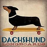 Dachshund Longboards Von Fowler, Ryan Kunstdruck auf Leinwand - Klein (30 x 30 cms )