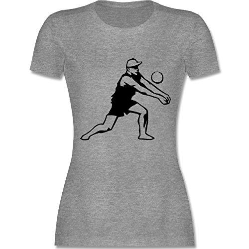 Volleyball - Volleyball - tailliertes Premium T-Shirt mit Rundhalsausschnitt für Damen Grau Meliert