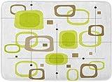 LXJ-CQ Zerbini Tappeti da Bagno Tappetino Modello Retro Lime Quadrati Verdi e Marroni Macchia di File a Strati Nessun Lucido Tratti 1950S 19.5'x31.5'