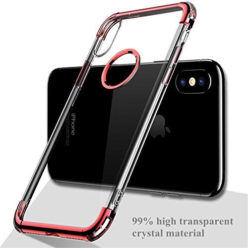 Cover iPhone X, E-TNT® 2017 apple custodia iPhone X, [Cristallo chiaro] protezione supporto originali silicone case , [4 angolo cuscino daria] skin Morbida chiara ferragni bumper iPhone