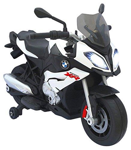 Jamara 460253 - Ride-on Motorrad BMW S1000XR weiß 6V - Leistungsstarker Antriebsmotor und Akku, LED-Scheinwerfer, Rücklicht, beleuchtetes Armaturenbrett, Sound, MP3 Player, Startknopf, Handgas, Bremse (Mp3-player Leistungsstarke)