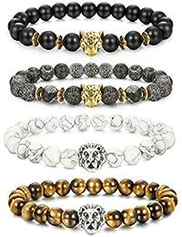 Milacolato 4 Pcs Lava Rock Bead Bracelet for Men Leopard Lion Bracelet Set Adjustable 8MM Beads