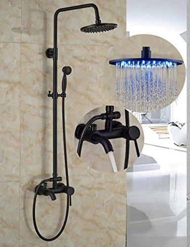 Öl eingerieben Bronze LED-Licht Regen Dusche Kopf Wandhalterung Dusche Mischbatterie Badewanne Dusche W/Hand Dusche Spritze - Beschlag-dusche-kopf