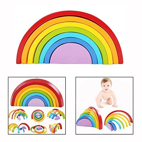 Cisixin Puzzle Rompecabezas Forma de Arco Iris Madera, 7 color del Juguetes Juegos Educativos Aprendizaje