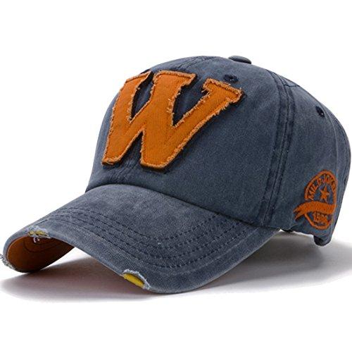 Kuyou Vintage Baseball Kappe Unisex Sport Distressed Trucker Cap (Navy) (Trucker Hat-cap Distressed)