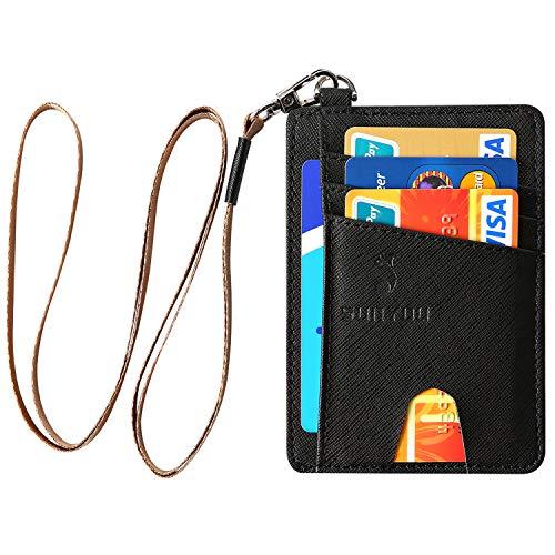 Yingg Schlanke minimalistische Geldbörse,Kreditkartenetui Mit RFID Schutz Kartenhalter Kartenetui Brieftasche Mini Geldbörse (Kreuz schwarz) ...