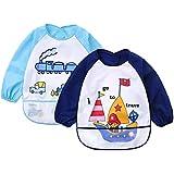 Truedays Lot de 2 Bavoir pour Bébé à Manches Longue Imperméable à l'eau Bébé Bavoirs pour les enfants de 0-3 ans