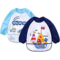 Truedays Baberos Blandos Pack de 2 Cartoon impermeable Smock para 6 meses-3 años