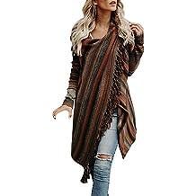 c7dceea6569075 OIKAY Damen Poncho Cape mit Rollkragen Gestrickten Pullover Sweater  unregelmäßige Quaste Cardigan Strickwaren Mantel