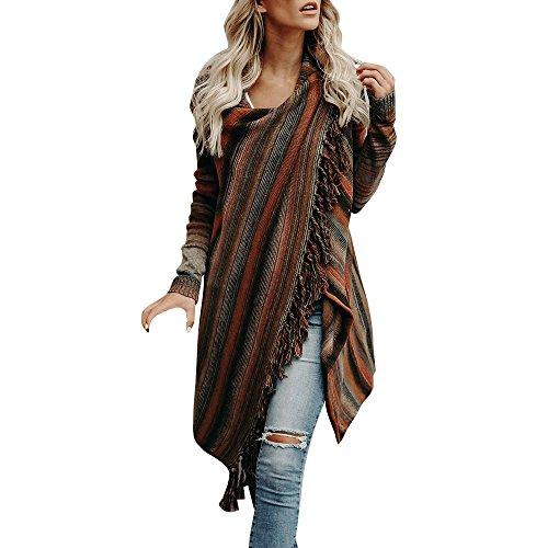 TUDUZ Damen Poncho Cape mit Rollkragen Gestrickten Pullover Sweater unregelmäßige Quaste Cardigan Strickwaren Mantel (Braun, M) -
