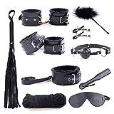 Unicoco Juguetes Sexuales 10 pcs Restricciones Cama SM Kits Bondage Negro Collar Látigo