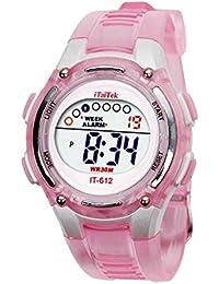 Digital Reloj de pulsera - iTaiTek Ninos Ninas natacion deportes digital impermeable reloj de pulsera (rosa)