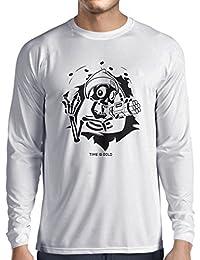 Camiseta de Manga Larga para Hombre el cráneo con Bomba - el tiempo está arriba -