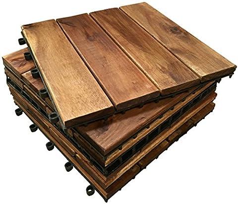 72 x EXTRA THICK Wooden 4 SLAT TILES ACACIA HARDWOOD Decking Tiles.Patio, Garden, Balcony, Hot Tub. 30cm Square Deck Tile