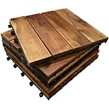 Click-Deck - Láminas de suelo de enganche de madera noble (72 unidades) Azulejos 4tiras para patio, jardín, balcón, jacuzzi azulejo de 30 cm cuadrado