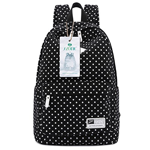 s-zone-lightweight-polka-dot-canvas-backpack-13-15-laptop-pc-school-bag-for-teenage-girls-b-black
