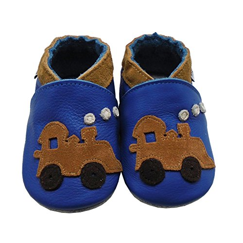 Mejale Weiche Sohle Leder Babyschuhe Lauflernschuhe Krabbelschuhe Kleinkind Kinderschuhe Hausschuhe Karikatur Zug Blau