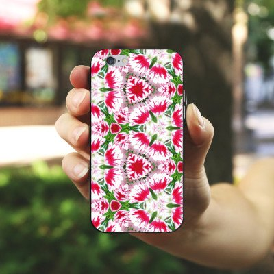 Apple iPhone X Silikon Hülle Case Schutzhülle Modern Kaleidoskop Blumen Silikon Case schwarz / weiß
