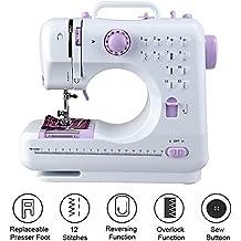 Milkee mini máquina de coser, color blanco y púrpura