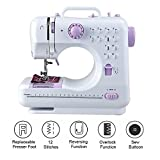 12 Stitches Household Sewing Machine, Mini Size Handheld with Foot Pedal 2 Speed Double Threads