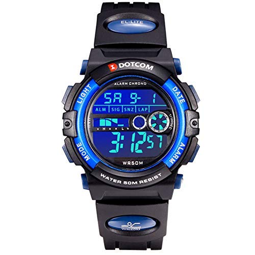 Herren Digitaluhr 50M Wasserdichte Sport Laufen Schwimmen Junge Armbanduhr mit Zeit, Datum, Alarm, Hintergrundbeleuchtung, Stoppuhr