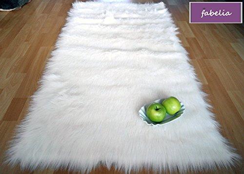 Flokati-Stil Hochflor Shaggy Teppich Ameiny Colours - In bunten Farben und kuschelweich (140 cm x 200 cm, Weiß) -