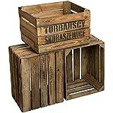 Cajas de fruta de madera, estilo rústico, 49x 42x 31cm, 3 unidades