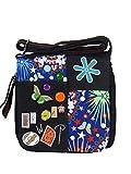 Umhängetasche Canvas Style mit aufgenähten Patches, Buttons und floralem Muster - Maße 28 x 29 cm - Damen Mädchen Teenager Tasche (schwarz)