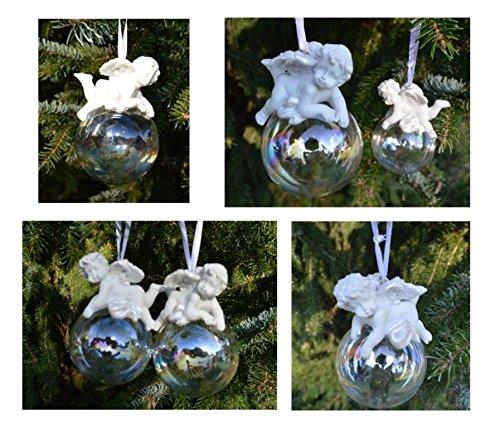 4er Set Engel auf Kugel Hänger, Weihnachtlicher Baumschmuck, Christbaumschmuck