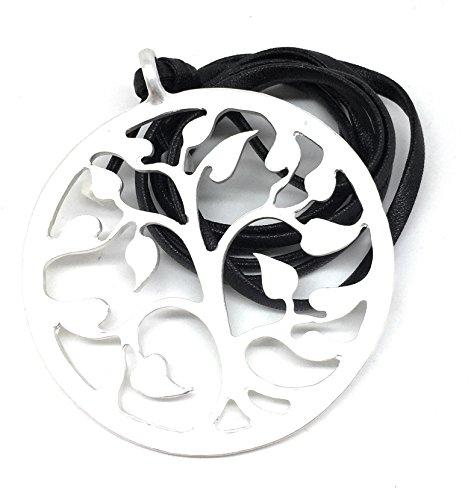 Venture Lange Lebensbaum Kette mattiert Silber an einem schwarzen Kunstleder Band Halskette Necklace Womens Venture