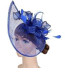 Womens Elegante Fascinator Cappello da sposa piuma Accessori per capelli  Clip Ascot Headwear per Tea Party 7285f484a6c1
