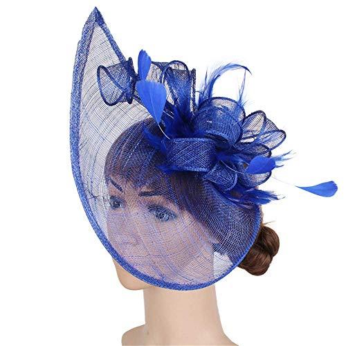 Chlyuan Sinamay Fascinator-Hut Womens Elegant Fascinator Hut Braut Feder Haarspange Zubehör Ascot Headwear für Teeparty Hochzeit Damen Tag (Farbe : Blau)