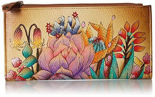 Anuschka Hand Painted Leather Women's Two FOLD Wallet Brieftasche aus handbemaltem Leder, für Damen, zweifach klappbar, Desert Sunset, Einheitsgröße
