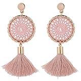 Ohrring, 5 Farben Baumwollgarn Handgestrickt Lange Quaste Baumeln Ohrringe Frauen Modeschmuck (Rosa)