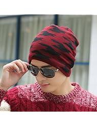 Sombrero de las lanas de los hombres del casquillo del invierno Jóvenes casquillo del Knit del invierno al aire libre del sombrero del casquillo caliente ( Color : D )